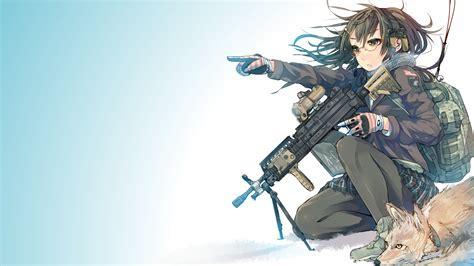 anime girls anime women  guns weapon glasses fox