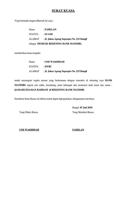 contoh surat kuasa pencairan cek  bank bca