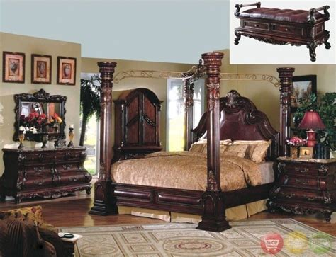 Traditional King Cherry Poster Canopy Bed Leather 5pc