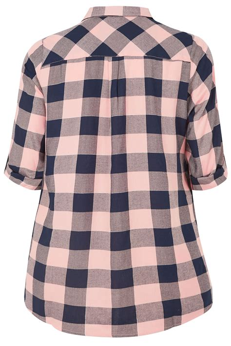 pink blue check print longline pocket shirt