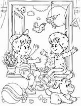 Coloring Friends Playing Pages Friendship Children Middle Preschoolers Boys Colouring Friend Printable Worksheets Print sketch template