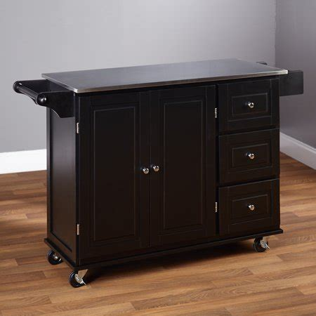 Sundance Kitchen Cart With Stainless Steel Top, Black