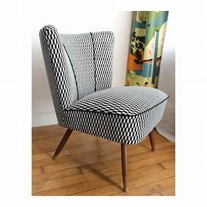 Fauteuil Design Blanc : fauteuil cocktail vintage noir et blanc 1950 design market ~ Teatrodelosmanantiales.com Idées de Décoration