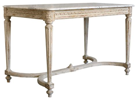 french country console table contessa french country distressed white gold marble long