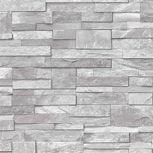 3D Slate Stone Brick Effect Wallpaper Washable Vinyl