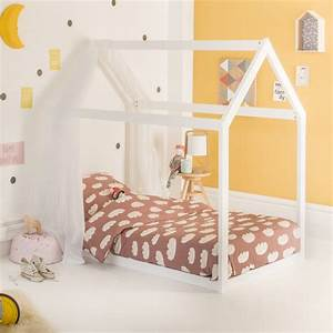 Lit Montessori Cabane Extensible 90x140 Coloris Blanc