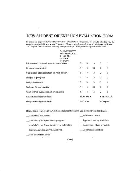 20890 orientation evaluation form 10 sle orientation evaluation forms sle templates