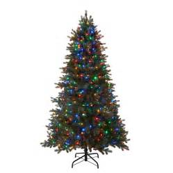 shop living 7 5 ft 2 974 count pre lit mansfield artificial tree with multi