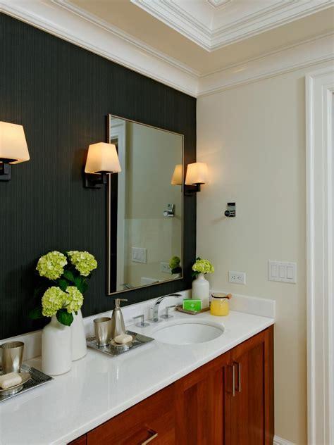 contemporary bathroom  black accent wall hgtv