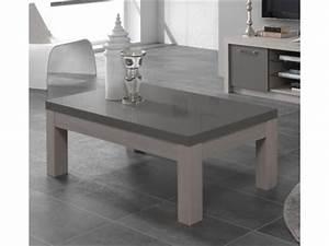 Table Basse Chene Gris : table basse fano chene blanchi laque gris chene blanchi gris brillant l 127 x h 44 x p 66 ~ Teatrodelosmanantiales.com Idées de Décoration