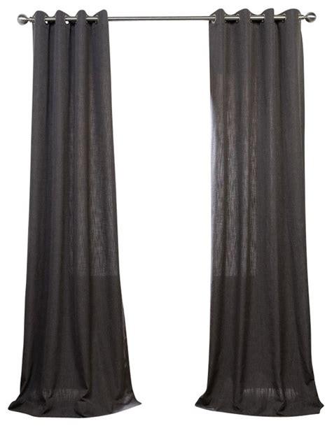 slate grey grommet heavy faux linen curtain single panel