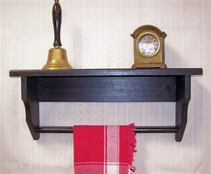 Black, Wood, Shelf, With, Towel, Rack, And, Carved, By, Oldtimewoodworks