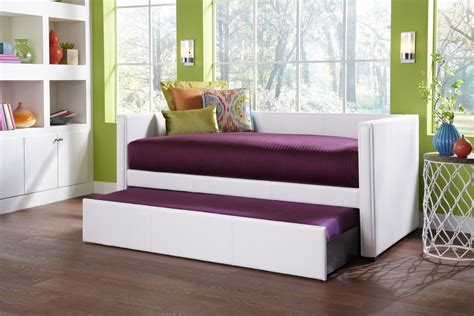 Awesome Modern Trundle Bed In White And Purple Color In