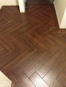 laundry room herringbone pattern tile floor details diy With how to lay a parquet floor in a herringbone