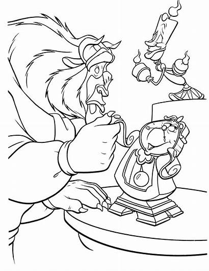 Beast Beauty Coloring Pages Character Chip Disney