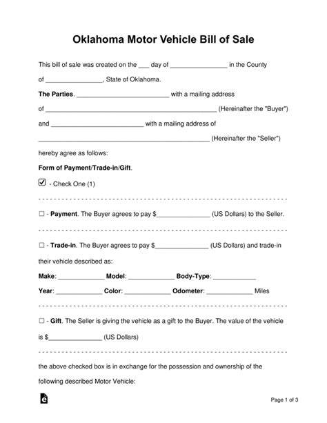 Boat Insurance Oklahoma by Free Oklahoma Bill Of Sale Forms Word Pdf Eforms