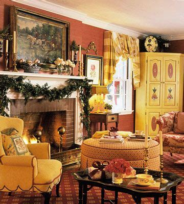 christmas house in red green yellow fireplace fender