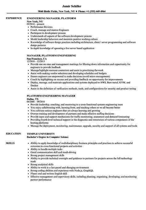 Employment Resume Sles by Skills Needed For Engineering Manager All Engineer Photos