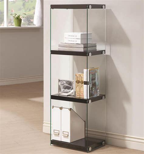 contemporary  shelf bookcase  glass shelves