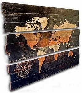 Carte Du Monde Bois : carte du monde extra large et boussole 3 pi ce triptyque murale art sur bois massif vieilli 50 ~ Nature-et-papiers.com Idées de Décoration