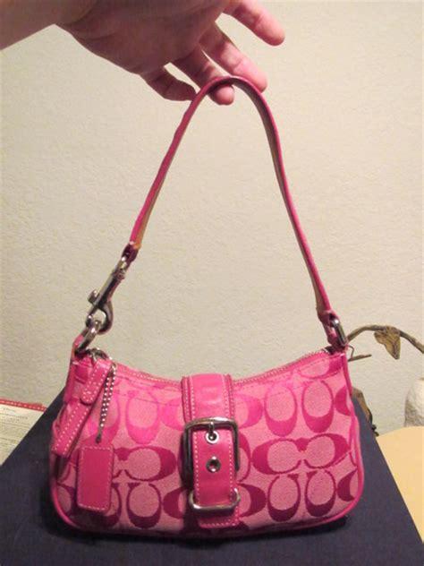coach small hot pink handbag purse signature logo  handbags listiacom auctions