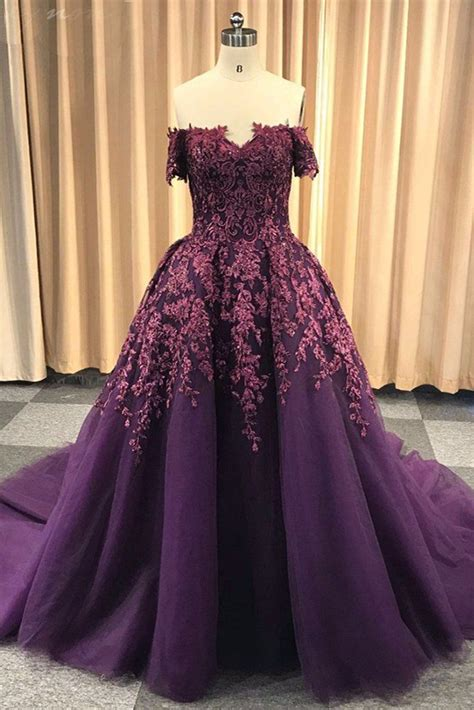 purple tulle  shoulder strapless sweep train long