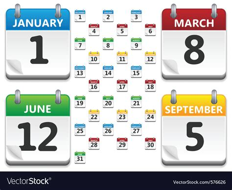 Calendar Icons Royalty Free Vector Image