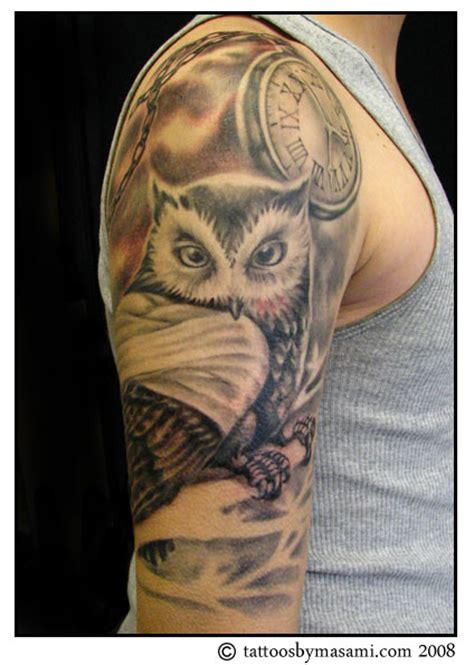 brainsy heart upper arm owl tattoo