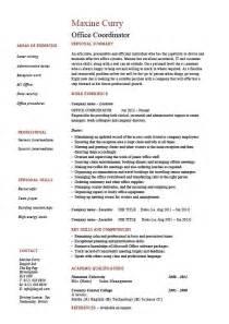 office coordinator resume summary exles office coordinator resume exle sle administration areas of expertise work employer