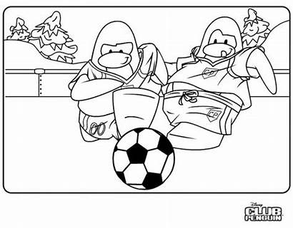 Penguin Coloring Club Pages Penguins Colouring Soccer