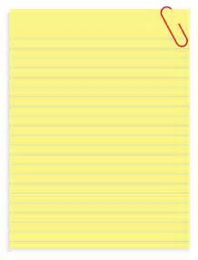 Yellow Notebook Paper Clip Art