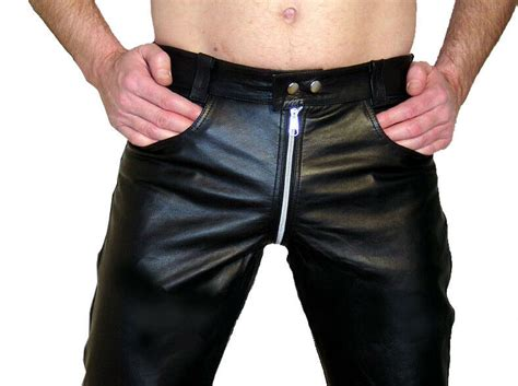 Mens Leather Pants Black Leather Trousers New Gay Pants