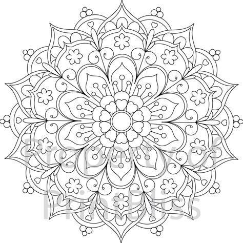 flower mandala printable coloring page  printbliss