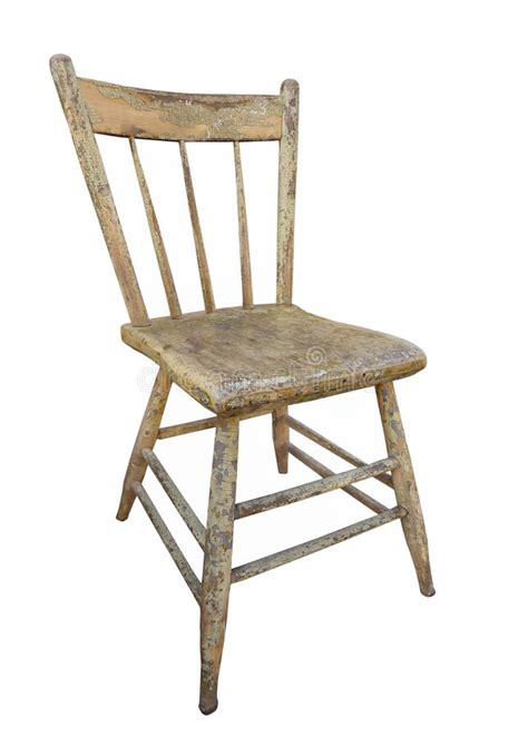 Old Wooden Kitchen Chair Isolated Stock Image  Image Of