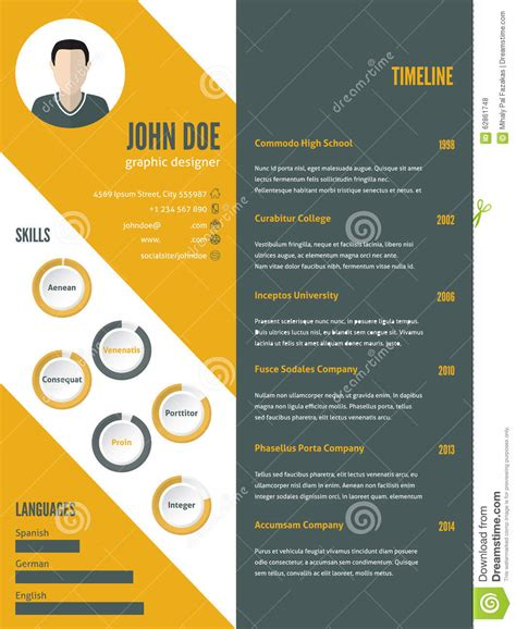 Curriculum Vitae Design Template by New Modern Resume Cv Template With Photo Stock Vector