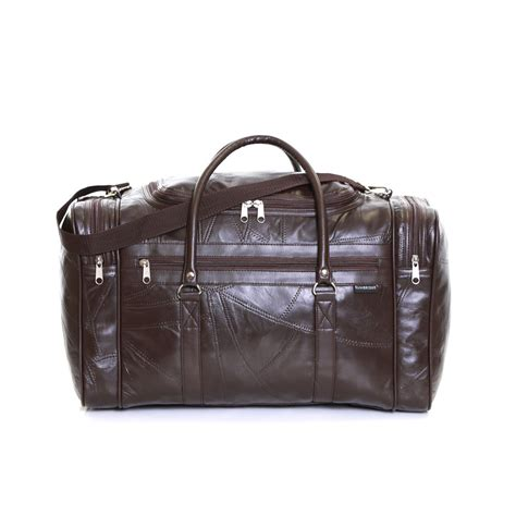 real leather travel weekender cabin luggage handbag gym