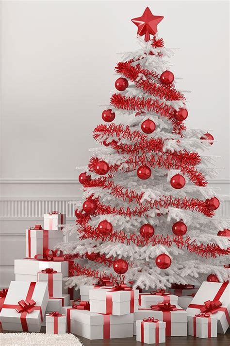red lights christmas tree white tree with lights happy holidays