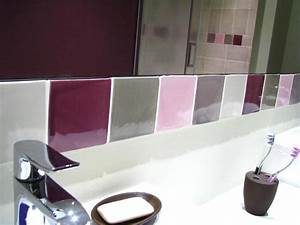 beautiful salle de bain fushia et vert contemporary With carrelage salle de bain rose