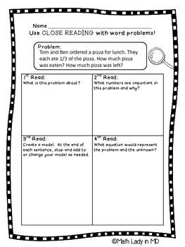 grade fractions word problems close reading  math
