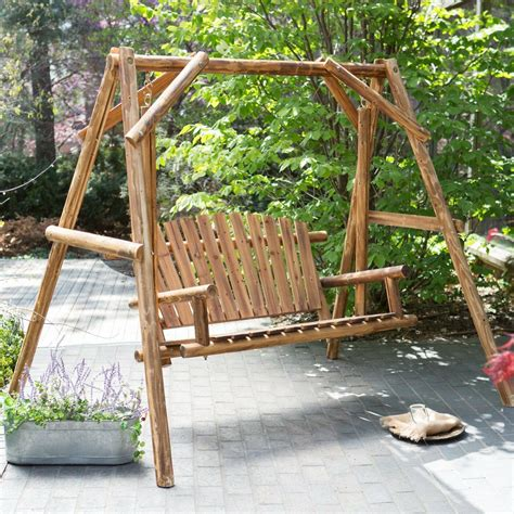 Wooden Porch Swings by Wood Porch Swing Bench Deck Yard Outdoor Garden Patio
