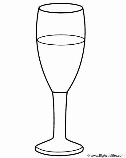 Coloring Glass Champagne Clipart Wine Happy Cliparts