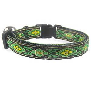cool cat collars jacquard green yellow cat collar last one