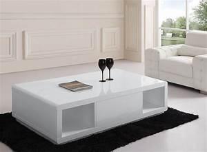 Table Basse Blanc Laqué Et Bois : table basse blanc laqu avec rangement table basse salon en bois trendsetter ~ Teatrodelosmanantiales.com Idées de Décoration