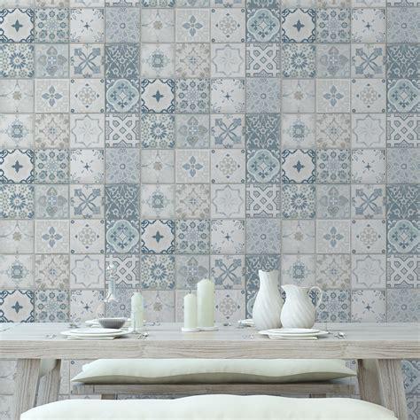 papier peint imitation carrelage cuisine papier peint intissé carreau ciment bleu leroy merlin