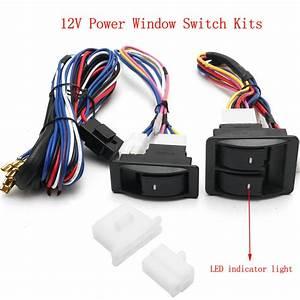 6pcs 12v Universal Power Window Switch Kits With