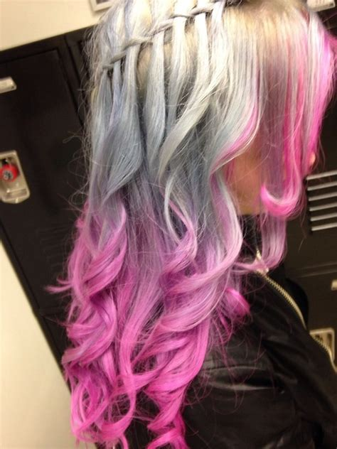 silver  pink waterfall braid hair colors ideas
