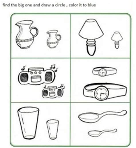 big or small activity sheets and worksheets crafts and