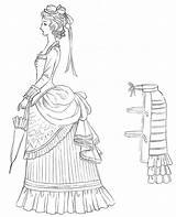 Drawing Victorian Outline Bustle 1800 Coloring Later 1800s Crazy Patterns Baker sketch template