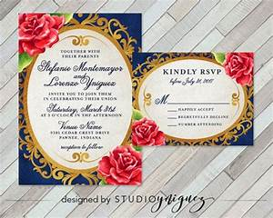 beauty and the beast fairy tale printable wedding With beauty and the beast mirror wedding invitations