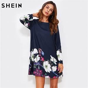 shein fall dress flower print flowy dress navy boat neck With robe longue fleurs